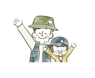 手を振っているアウトドアウェアの父子のイラスト素材 [FYI04920792]