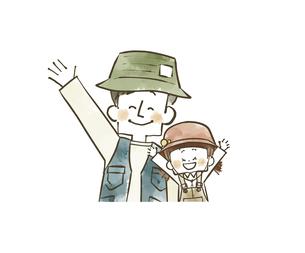 手を振っているアウトドアウェアの父子のイラスト素材 [FYI04920793]