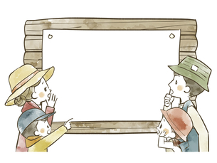 アウトドアウェアの4人家族と掲示板のイラスト素材 [FYI04920821]