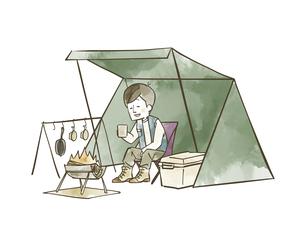 ソロキャンプを楽しむ男性のイラスト素材 [FYI04920838]