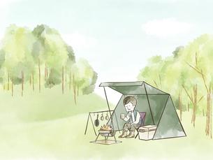 自然の中でソロキャンプを楽しむ男性のイラスト素材 [FYI04920839]
