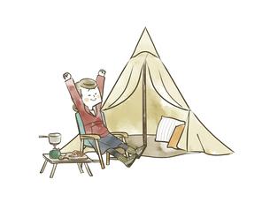 ソロキャンプを楽しむ女性のイラスト素材 [FYI04920840]