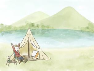 自然の中でソロキャンプを楽しむ女性のイラスト素材 [FYI04920841]