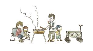 バーベキューを楽しむ4人家族のイラスト素材 [FYI04920842]