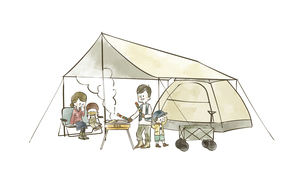 キャンプを楽しむ4人家族のイラスト素材 [FYI04920843]