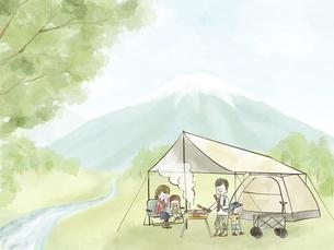 自然の中でキャンプを楽しむ4人家族のイラスト素材 [FYI04920844]