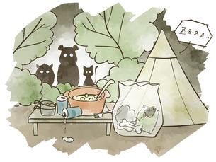 キャンプ場で夜中に野生動物に狙われる食材やごみのイラスト素材 [FYI04920853]