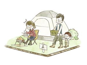 キャンプ場で他人の区画サイトを横切る親子のイラスト素材 [FYI04920854]