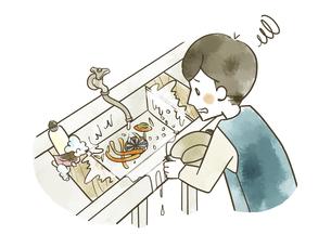 生ごみや水が飛び散っている炊事場のシンクのイラスト素材 [FYI04920856]