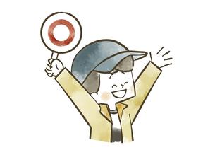 マルの札を掲げるアウトドアウェアの男の子のイラスト素材 [FYI04920863]