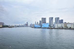 梅雨空の町並みに東京スカイツリーの写真素材 [FYI04920979]