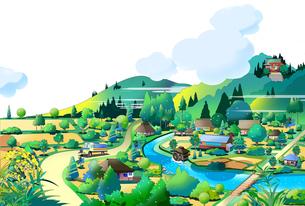 昔の日本の田舎の風景のイラスト素材 [FYI04920998]