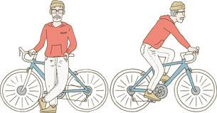 自転車に乗るおじいさんのイラスト素材 [FYI04921010]