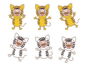 寅、虎、とら年年賀状イラスト ワイワイなかよし着ぐるみキャラクターのイラスト素材 [FYI04921246]