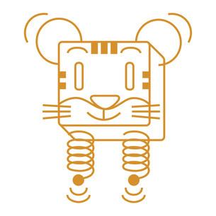 寅、虎、とら年年賀状イラスト 線で描いた単色キャラクターのイラスト素材 [FYI04921250]