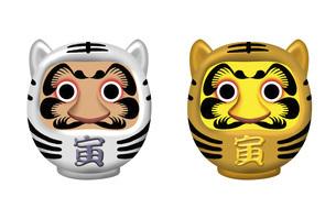 寅、虎、とら年年賀状イラスト ユニークな力強い顔の寅だるまのイラスト素材 [FYI04921252]