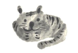 寅、虎、とら年年賀状イラスト 墨絵のトラのイラスト素材 [FYI04921269]