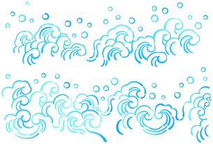 水しぶきを上げている波模様のイラスト【横位置のデザイン】のイラスト素材 [FYI04921928]