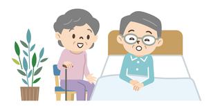 ベッドに横たわるシニア男性と妻のイラスト素材 [FYI04922243]