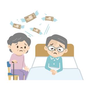 お金の心配をするシニア夫婦のイラスト素材 [FYI04922244]