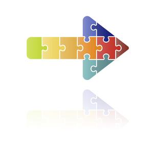 パズルの矢印アイコン カラフルのイラスト素材 [FYI04922269]