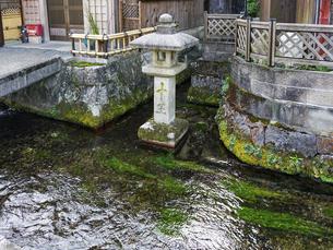 醒井宿の十王水 清流に建つ石灯籠(滋賀県米原市)の写真素材 [FYI04922372]