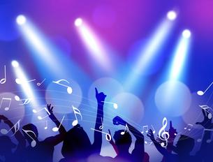 スポットライトのステージを見上げてシルエットの観客が歓喜しているのイラスト素材 [FYI04922878]