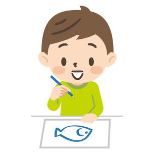 お絵描きをする男の子のイラスト素材 [FYI04923424]