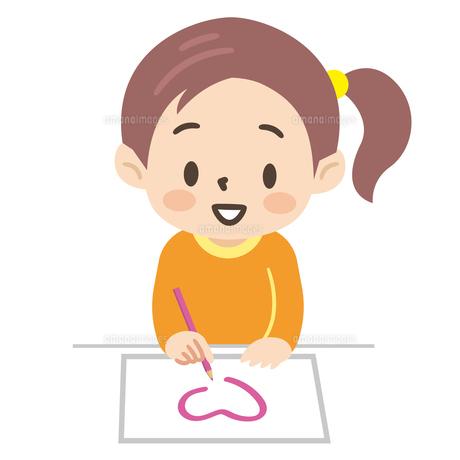 お絵描きをする女の子のイラスト素材 [FYI04923425]