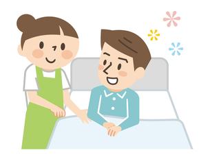 ベッドに横たわる男性と介護する女性の介護士のイラスト素材 [FYI04923426]