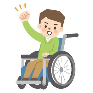 車椅子に乗った元気な男性のイラスト素材 [FYI04923428]