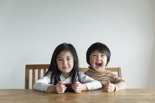 スマートフォンを持って笑う姉弟の写真素材 [FYI04924222]