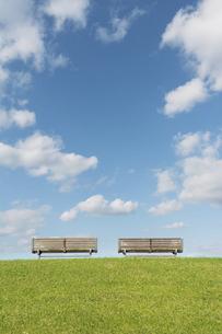 草原の2脚のベンチと青空の写真素材 [FYI04924292]