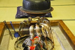 囲炉裏で焼く川魚の写真素材 [FYI04924381]