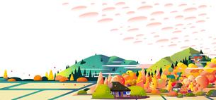 田舎の秋の風景のイラスト素材 [FYI04924494]