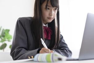 オンライン授業を受ける中学生の写真素材 [FYI04924498]
