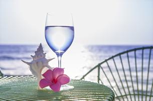 海をバックにグラスと貝とプルメリアの写真素材 [FYI04924630]
