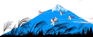 秋の富士山と赤トンボとススキの風景のイラスト素材 [FYI04924889]