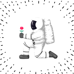 Astronaut holding a flower(close-up)のイラスト素材 [FYI04924970]