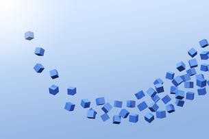 浮かぶたくさんの立方体と光 CGのイラスト素材 [FYI04925105]