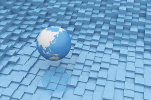 立体的な四角形と浮かぶ地球 CGのイラスト素材 [FYI04925116]