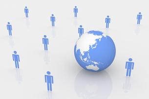 立ち並ぶ人型と地球 CGのイラスト素材 [FYI04925125]