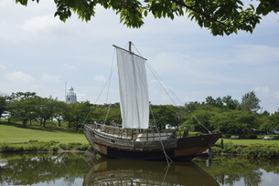 酒田 日和山公園の千石船の写真素材 [FYI04926017]