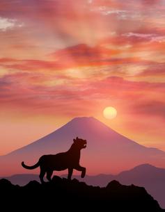 朝日と富士山にトラのイラスト素材 [FYI04926803]