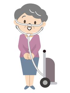 携帯用酸素ボンベで移動するシニア女性のイラスト素材 [FYI04926991]