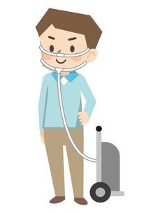 携帯用酸素ボンベで移動する若い男性のイラスト素材 [FYI04926992]