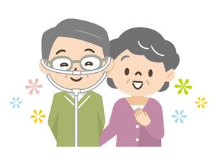 酸素療法中のシニア男性と家族のイラスト素材 [FYI04926993]