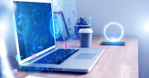 テクノロジーとホログラムのCGデザインの写真素材 [FYI04927825]
