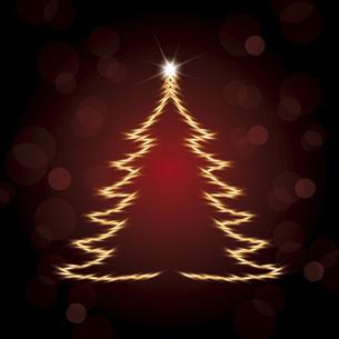 輝くクリスマスツリーのシルエットイラストのイラスト素材 [FYI04928082]