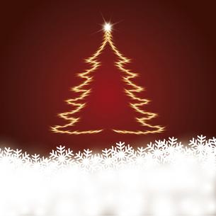 雪の結晶と輝くクリスマスツリーのイラスト素材 [FYI04928139]